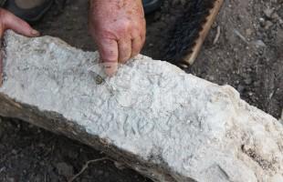 Gravestone with Inscription in Aramaic Commemorating Rabbis, Uncovered in Zippori 27.1.16