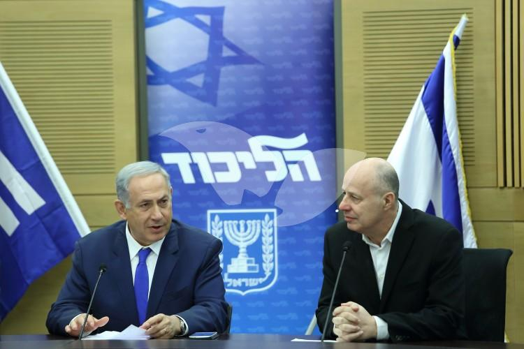 Prime Minister Binyamin Netanyahu with Coalition Chairman and Foreign affairs and defense committee Chairman, Tzahi Hanegbi