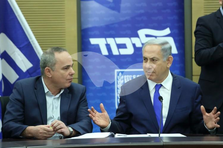 Prime Minister Binyamin Netanyahu with Minister of National Infrastructure, Energy and Water Resources, Yuval Steinitz