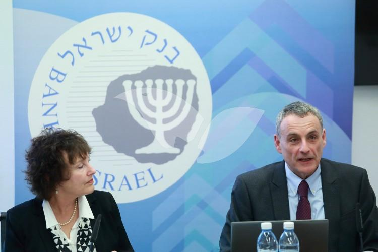Karnit Flug, (L) Governor of the Central Bank of Israel and  Prof. Nathan Sussman (R) Director of the Bank of Israel Research Department