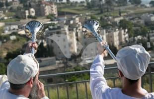 Temple Trumpets at Passover Offering on Mount of Olives 18.4.2016