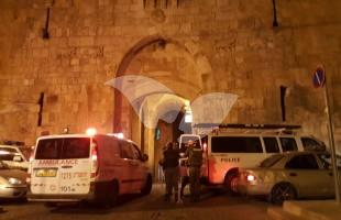 Security Personnel at Lions' Gate in Jerusalem Following Stabbing, 2.5.16. Credit: Magen David Adom