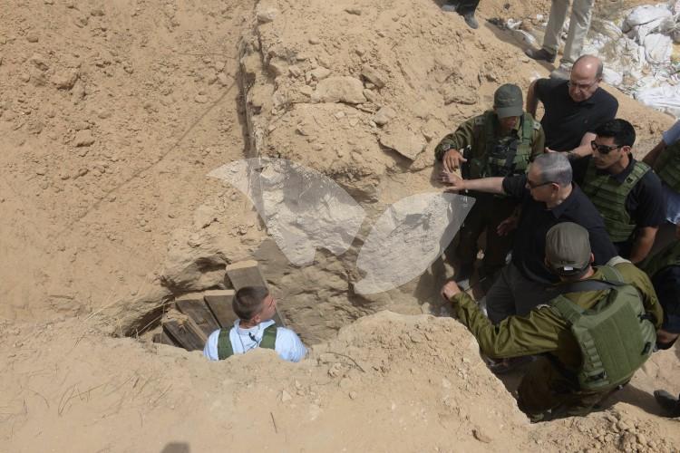 Netanyahu and Ya'alon Inspect Gaza Tunnel