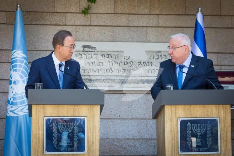 Israeli President Reuven Rivlin and UN Secretary General Ban Ki-moon Meet at President's Residence in Jerusalem 27.6.22