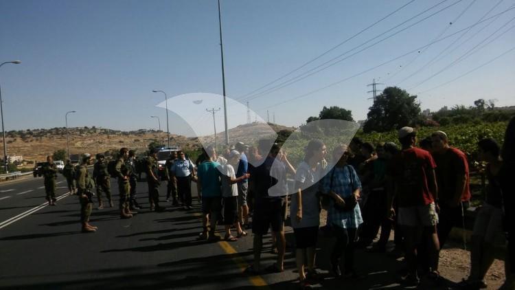Civilians Block Route 60 to Palestinians Following Terror Attack