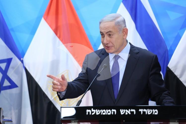 PM Netanyahu meets with Egyptian Foreign Minister Samah Shoukri