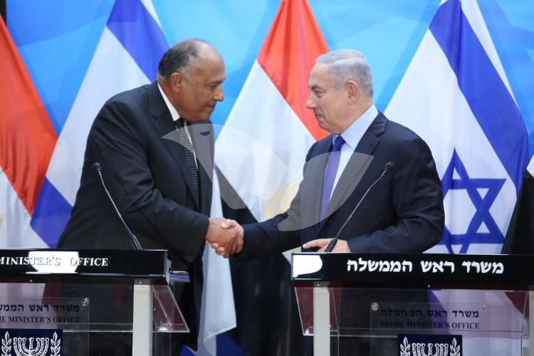 PM Netanyahu meets with Egyptian Foreign Minister Samah Shoukri