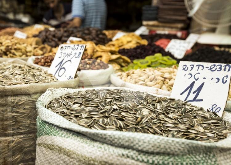 Seeds and Dry Fruit for Sale at Mahane Yehuda Market (The Shuk)