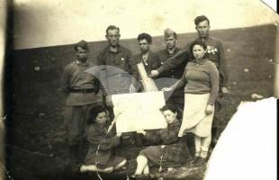Surviving Jews of Moletai, Lithuania, in 1945 on the Site of the Mass Grave
