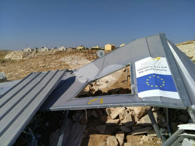 Demolished EU-Funded Structure in Mount Hebron 9.8.16