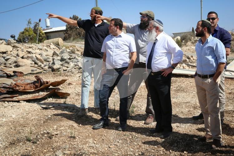 Deputy Defense Minister Eli Ben-Dahan and Head of Samaria Regional Council Yossi Dagan Touring Samaria