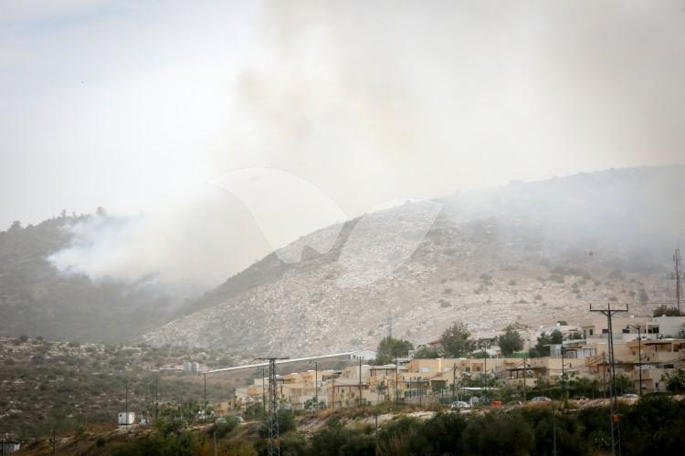 Smoke near Mevo Horon from the Fire in Nataf, close to Jerusalem
