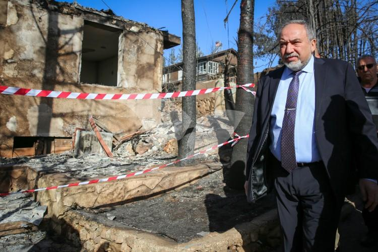 Israeli Politicians and the Local Residents Surveying the Damages of the Wildfire in Neve Tzuf