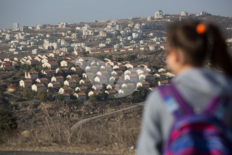 Nine Houses in Ofra Subject to Demolition, View from Amona Settlement