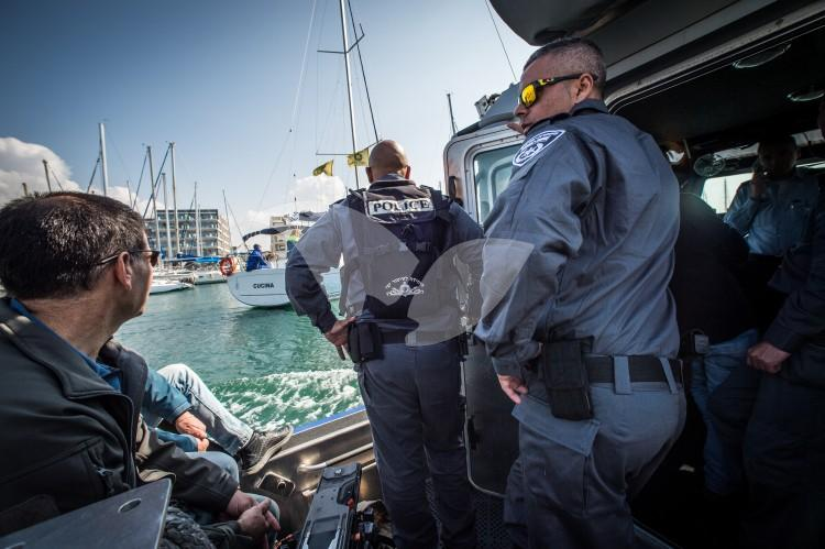 Israel's new Tzor'a police boats, in the presence of Police Commissioner Roni Alsheich and Minister for Internal Security Gilad Erdan. Herziliya, 9.2.17