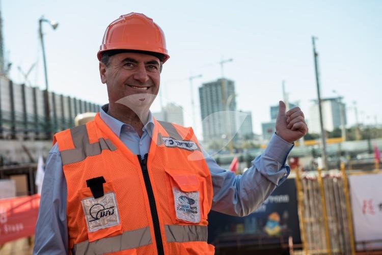 Transportation Minister Yisrael Katz as excavations begin on Tel Aviv light rail