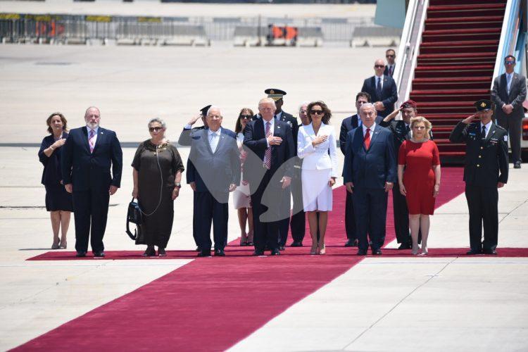 US President Donald Trump and his entourage land at Ben Gurion Airport