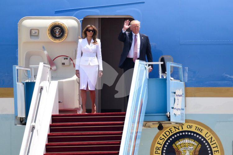 US President Donald Trump and his entourage land at Ben Gurion Airport