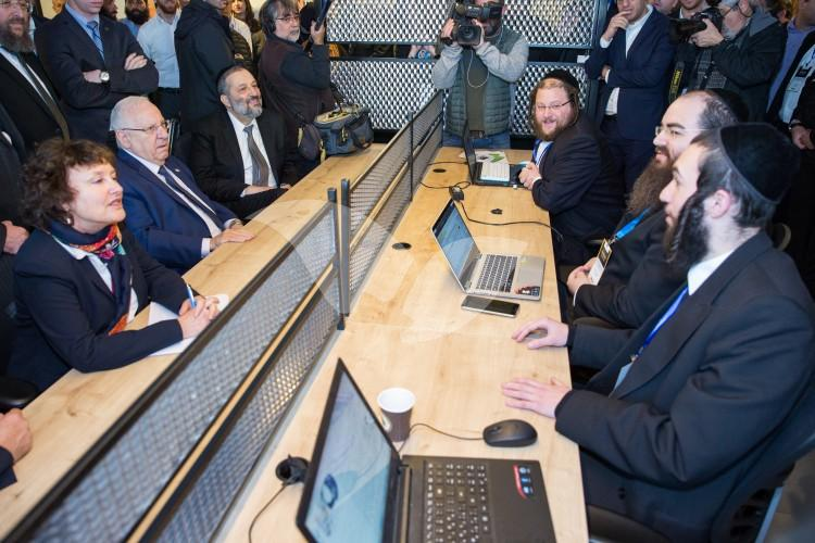 President Reuven Rivlin, Minister of Interior Aryeh Deri with Bank of Israel Governor Karnit Flug