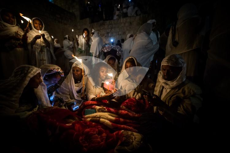 The Ethiopian Holy Fire ceremony at the Ethiopian section of the Church of the Holy Sepulchre in Jerusalem 15.4.2017