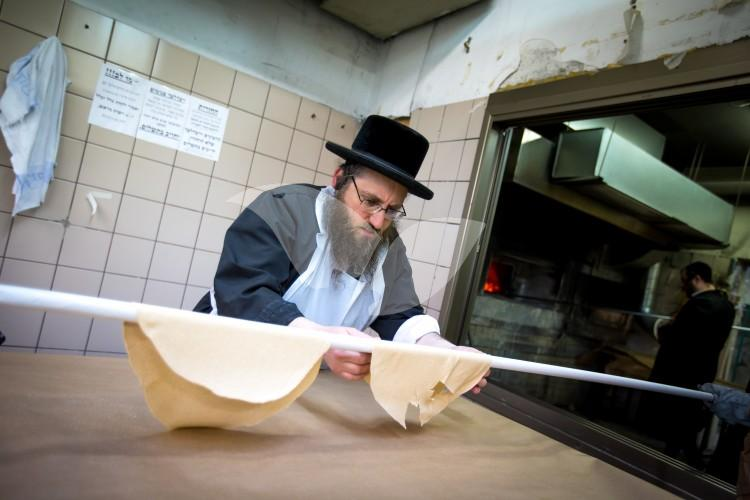 Baking matzos for Passover