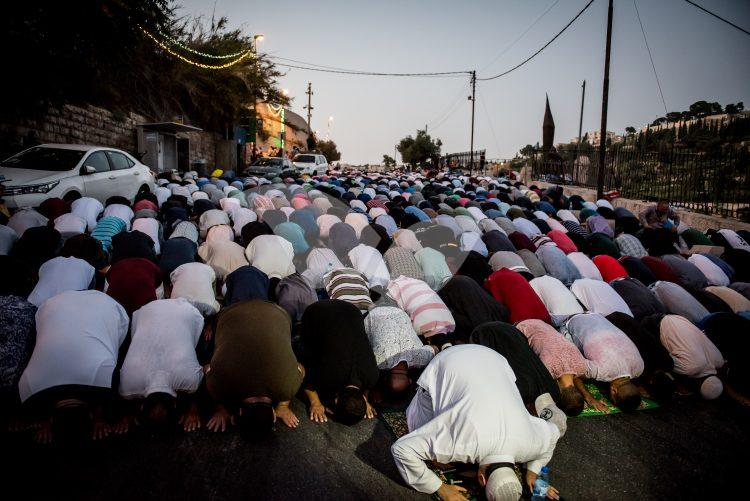 Arabs Pray during the Rally outside Temple Mount