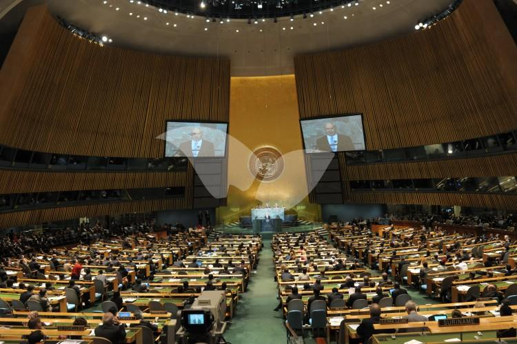 Prime Minister Netanyahu addresses the UnitedNations General Assembly in New York City.