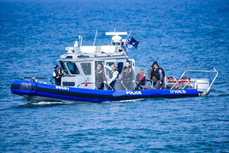 Israel's new Tzor'a police boats, in the presence of Police Commissioner Roni Alsheikh and Minister for Internal Security Gilad Erdan. Herzliya, 9.2.17