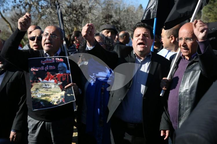 At the Rose Garden in front of the Knesset, Joint List MKs Protest as follow up to the convoy to Jerusalem