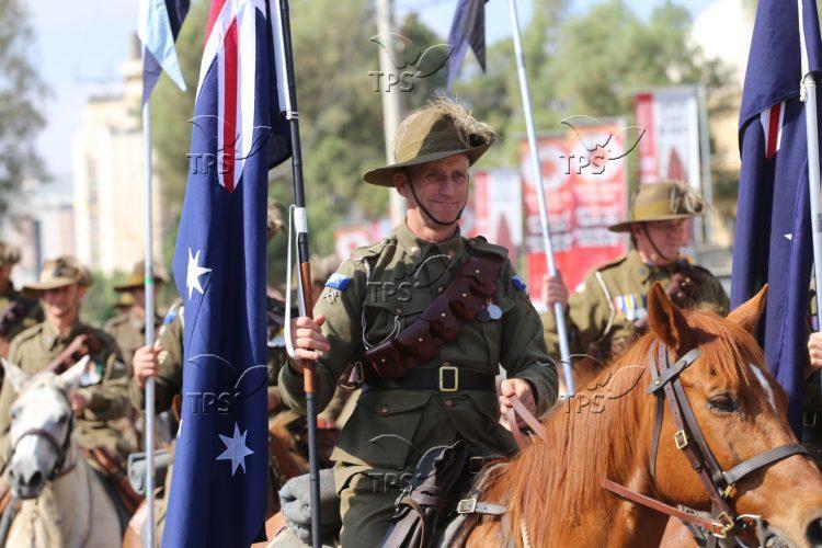 Australian cavalry parade in Be'er Sheva