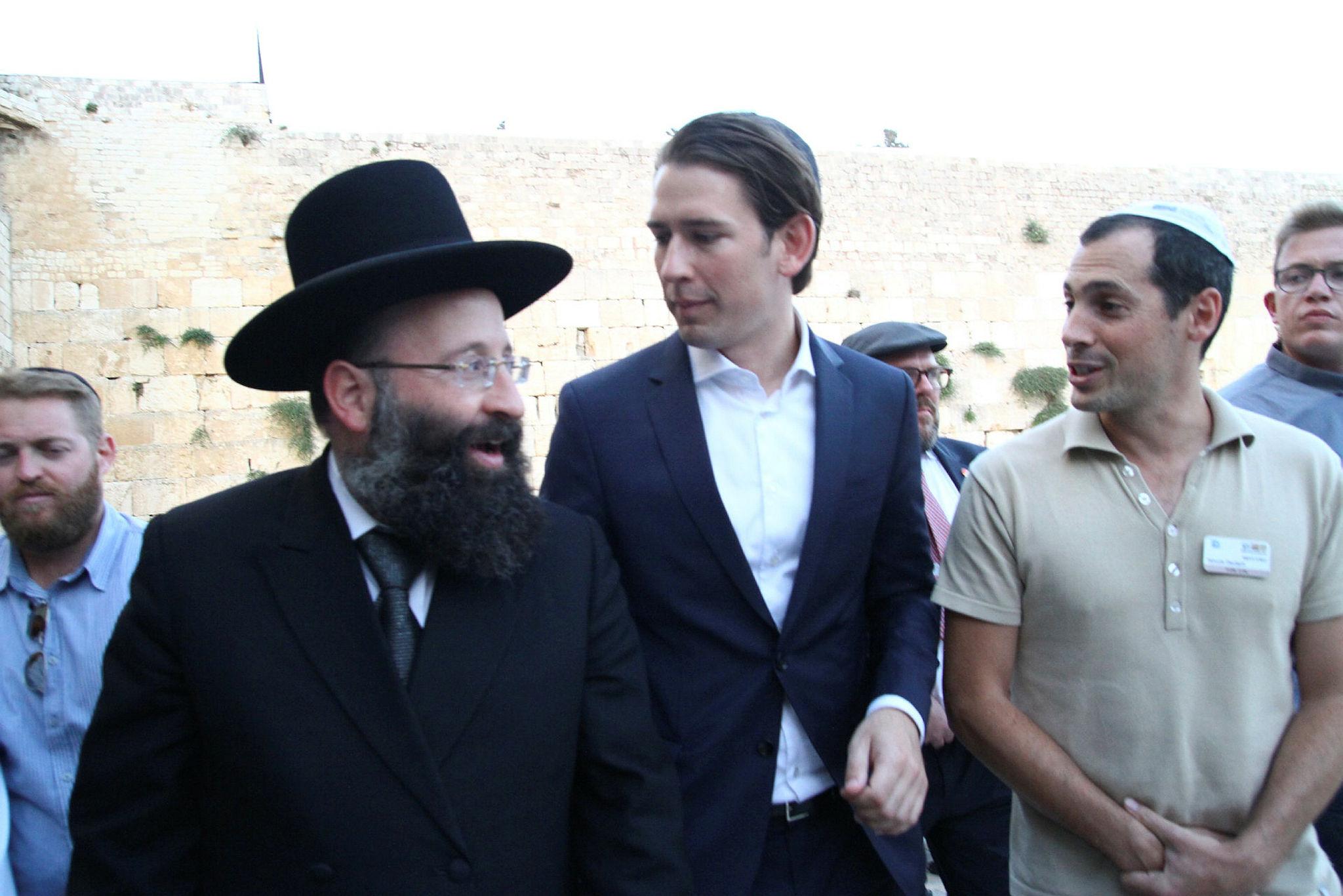 Sebastian Kurz, Austria's Chancellor, visiting the Western Wall