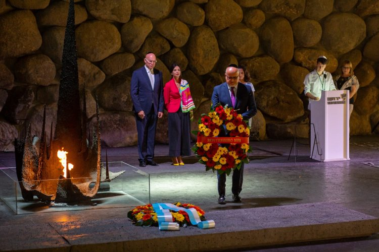 Montenegro Foreign Minister Srdjan Darmanovic Lays Wreath at Yad Vashem