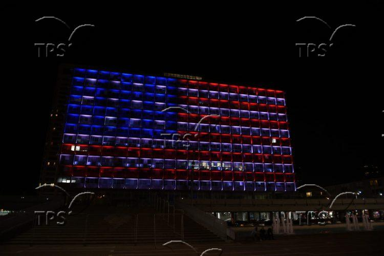 Tel Aviv City Hall in Red, White and Blue