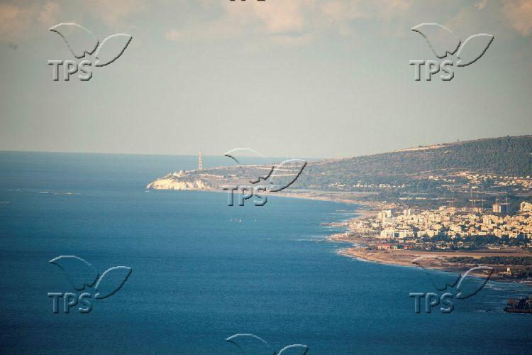 The Mediterranean coast line of the north of Israel