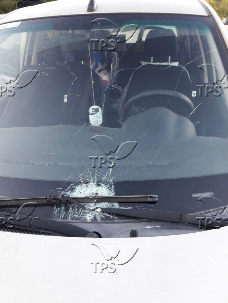 Stone throwing by Palestinians at Israeli car