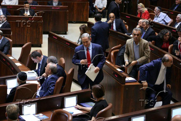 Arab MKs exiting the Knesset plenum