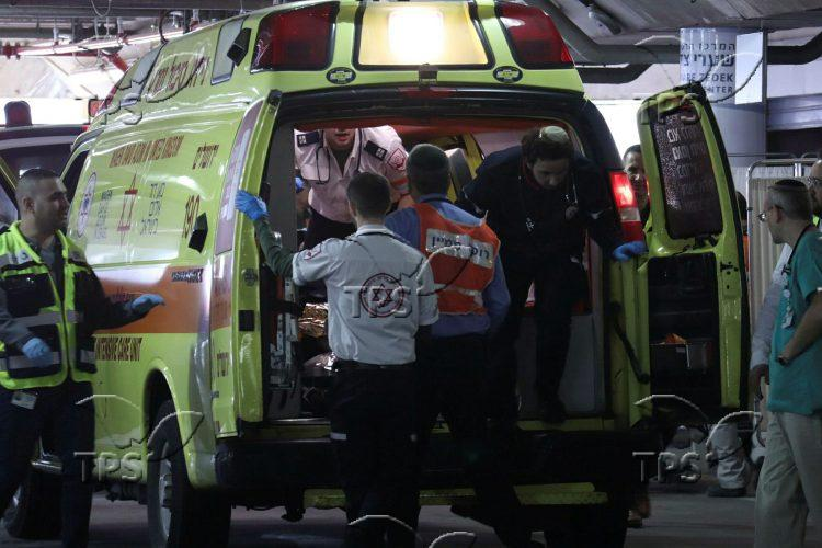 Wounded in the severe car accident arriving to hospital
