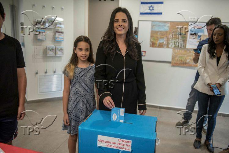Ayelet Shaked at the polling station
