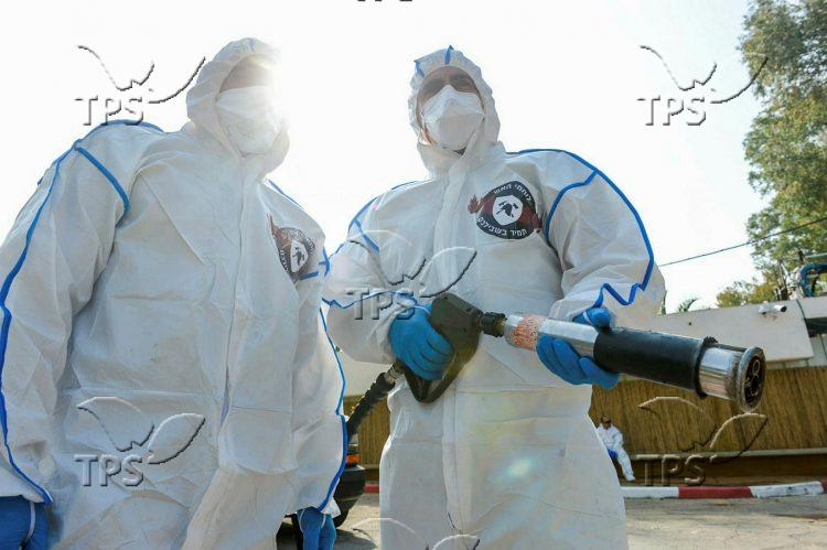 Firefighters disinfect Sheba Medical Center against coronavirus