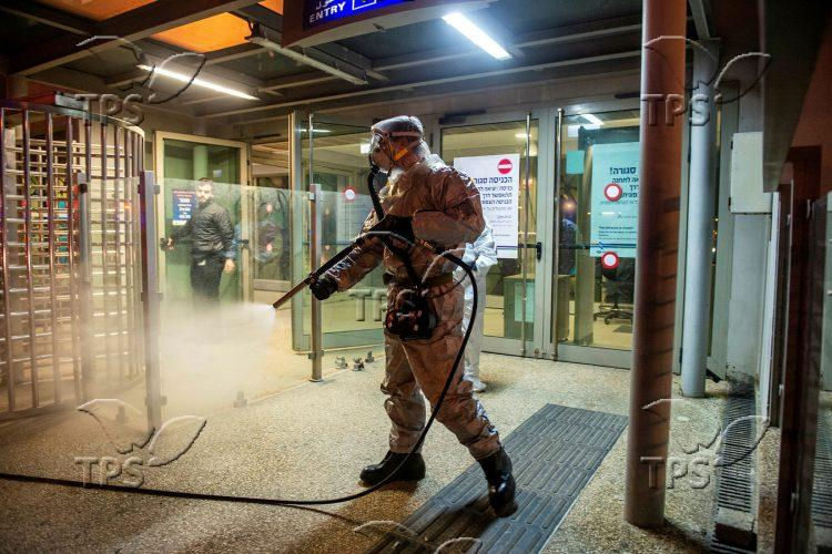 Firefighters disinfect public areas in Rishon Leziyyon