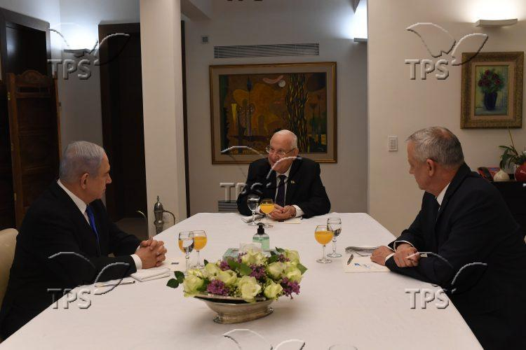 President Rivlin at meeting with MKs Gantz and Netanyahu III – 15 March 2020