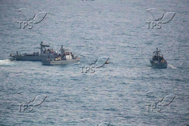 Israeli navy patrol boats in a drill