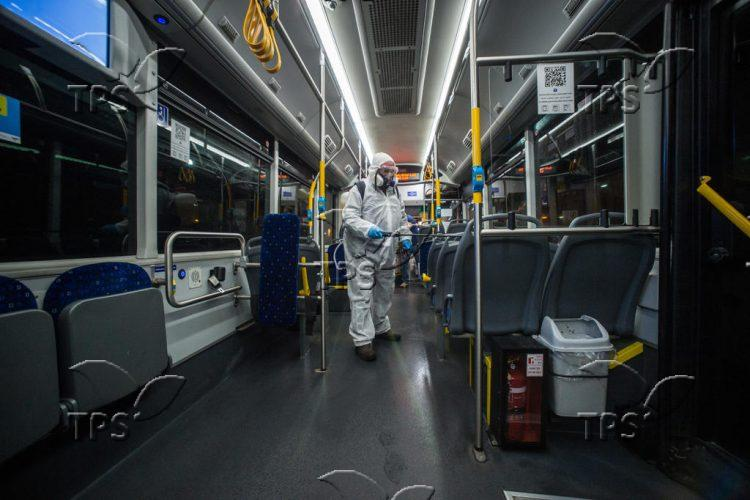 Disinfecting buses in Israel against coronavirus