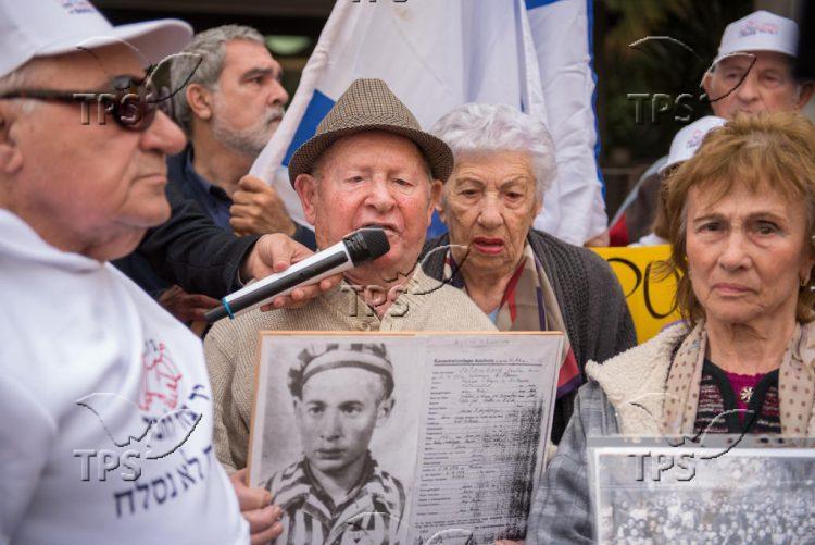 Holocaust survivors protesting