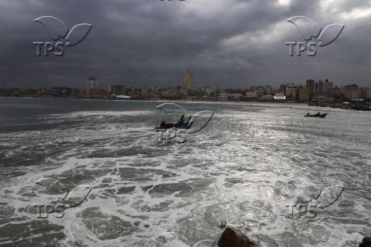 Fishermen at Gaza sea port